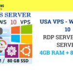 USA VPS – WINDOWS 10 RDP SERVER / VPS SERVER 4GB RAM + 2 CPU+ 80 GB SSD